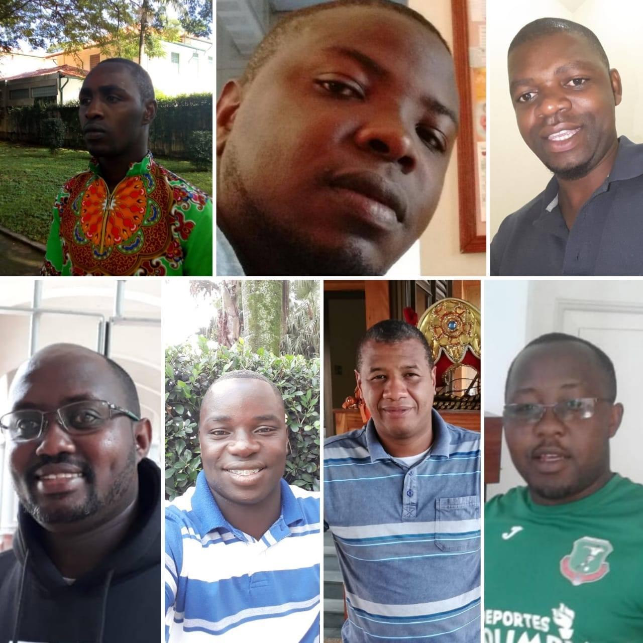 Da esq. para dir.: Ibrahim (professará 31/07), Filbert, Horácio (professará 14/08), Betino, Boina, Brás e Malius.